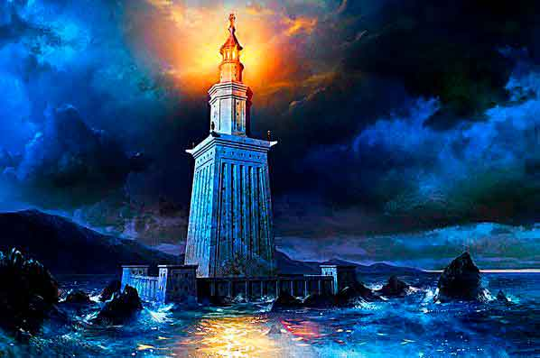 Самое высокое сооружение древности - Александрийский маяк.