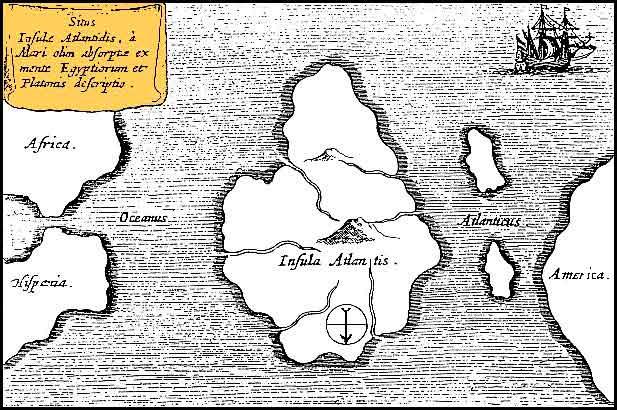 Карта Атлантиды из труда Mundus Subterraneus священника-иезуита Атанасиуса Кирхера. 1665