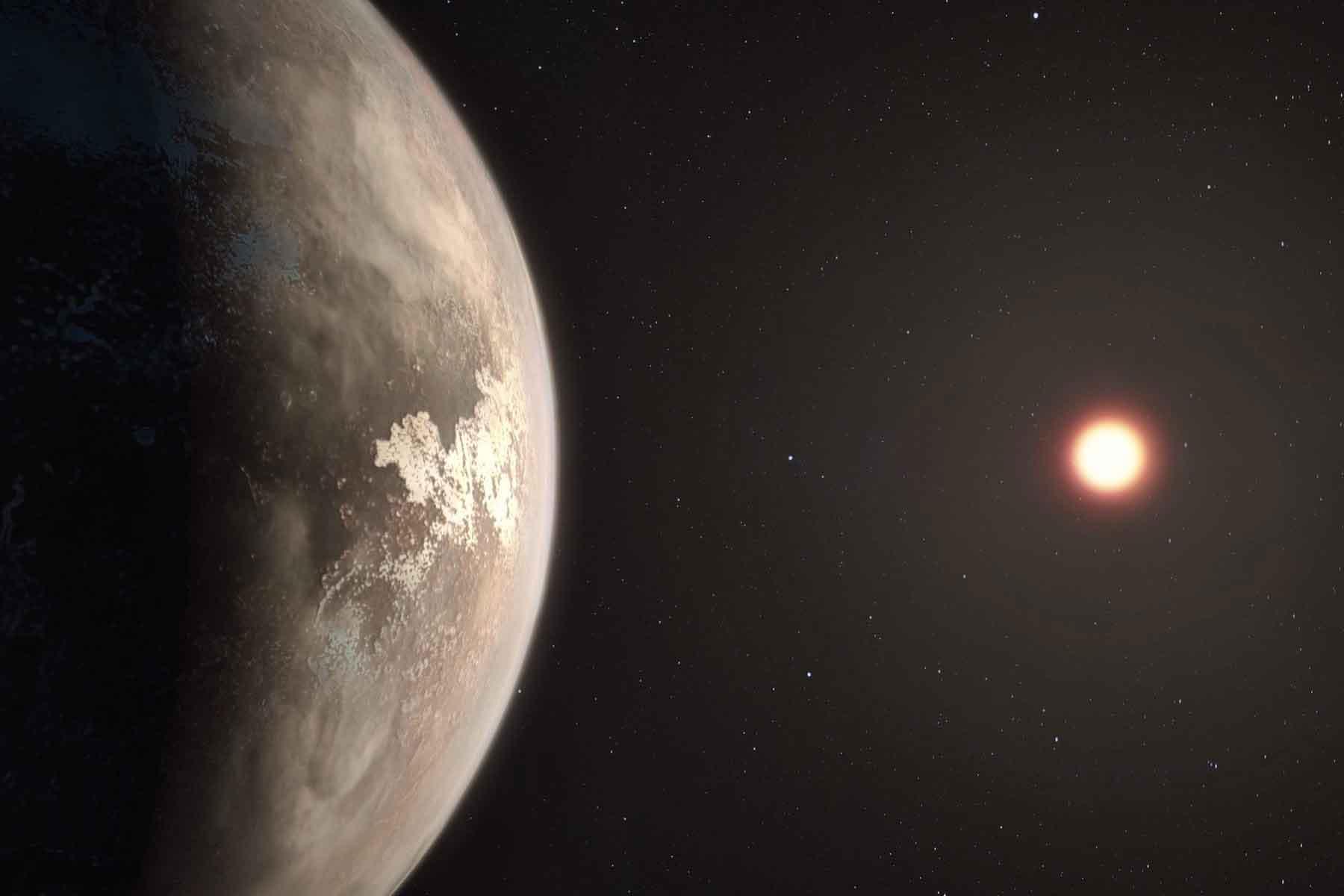 Экзопланета Ross 128 b в представлении художника