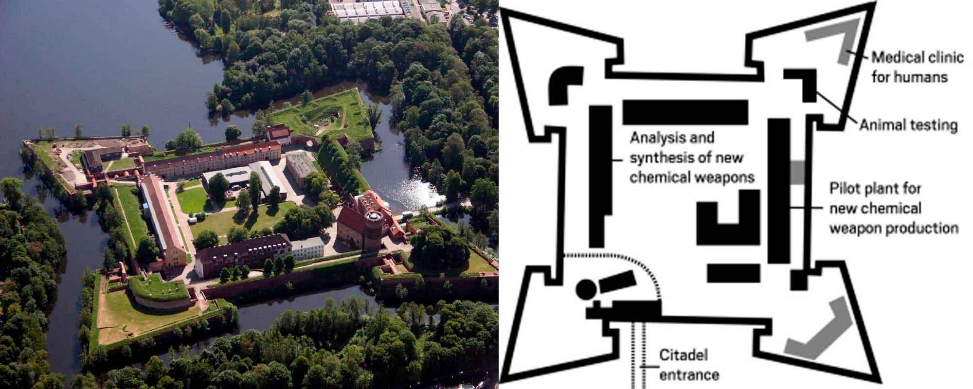 Схема военной немецкой лаборатории с газовой защитой, располагавшейся в Цитадели Шпандау.