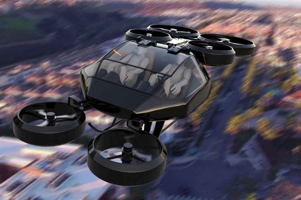 Квадрокоптер размером с машину.