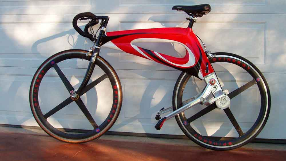 Велосипед с рычажным приводом вместо цепи