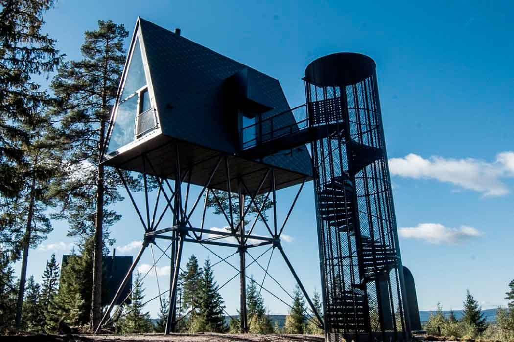 Дизайнерский дом на дереве в форме крыши