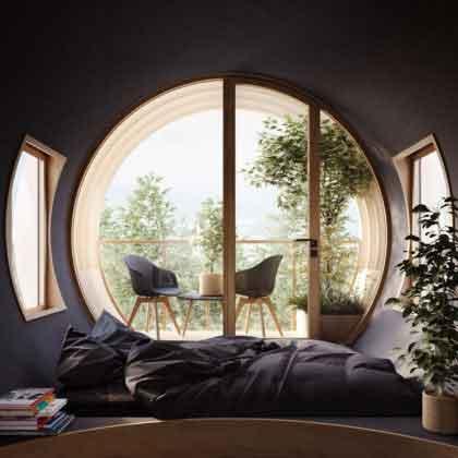 комната внутри модульного дома Bert