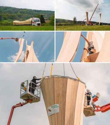 Сборка деревянной башни