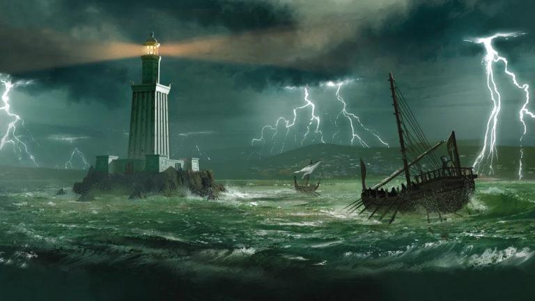 Самое высокое сооружение древности — Александрийский маяк.